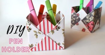 How to make an origami pen/pencil holder - easy origami - DIY ... | 185x350